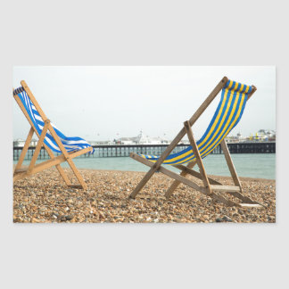 Deckchairs and shingle rectangular sticker