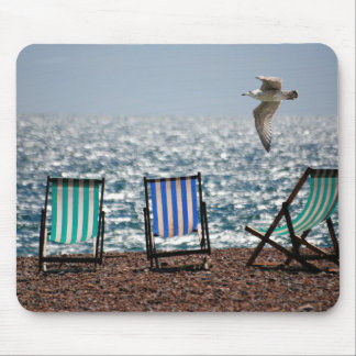 Deckchairs sea beach seagull beautiful scenery mouse pad