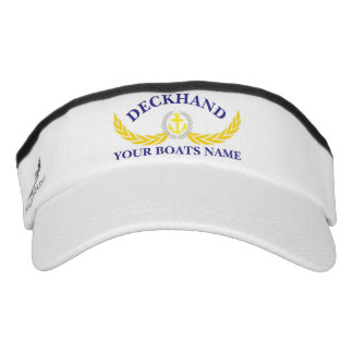 Deckhand personalized boat name anchor motif headsweats visors