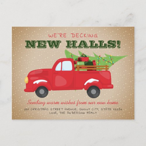 Decking New Halls Christmas Truck Holiday Moving Announcement Postcard