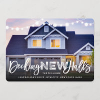 Decking New Halls Holiday Moving Announcement Card