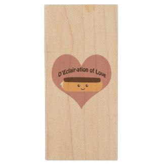 D'eclair-ation Of Love Wood USB Flash Drive