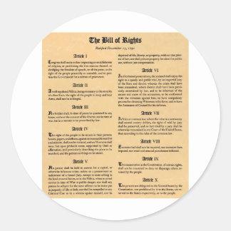Declaración de Derechos de Estados Unidos Pegatina Redonda