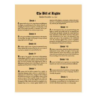 Declaración de Derechos de Estados Unidos Tarjeta Postal