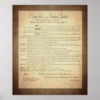 Declaración de Derechos de la constitución de los Póster