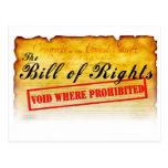 Declaración de Derechos - vacío donde prohibido Tarjetas Postales