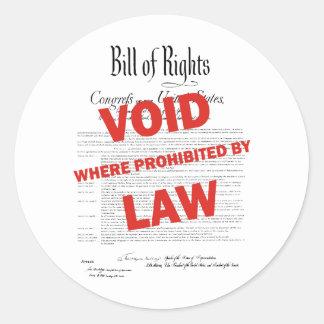 Declaración de Derechos - VACÍO Pegatina Redonda