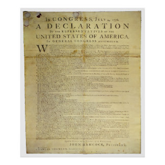 Declaración de Independencia 1774 del costado de Póster