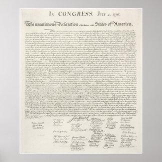 Declaración de Independencia 1776 de Estados Unido Posters
