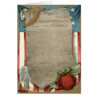 Declaración de Independencia 1776 de la bandera de Tarjeta De Felicitación