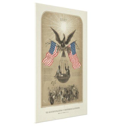 Declaración de Independencia americana ilustrada Impresión En Lienzo Estirada