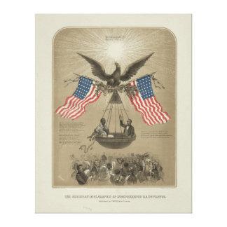 Declaración de Independencia americana ilustrada Lona Envuelta Para Galerías
