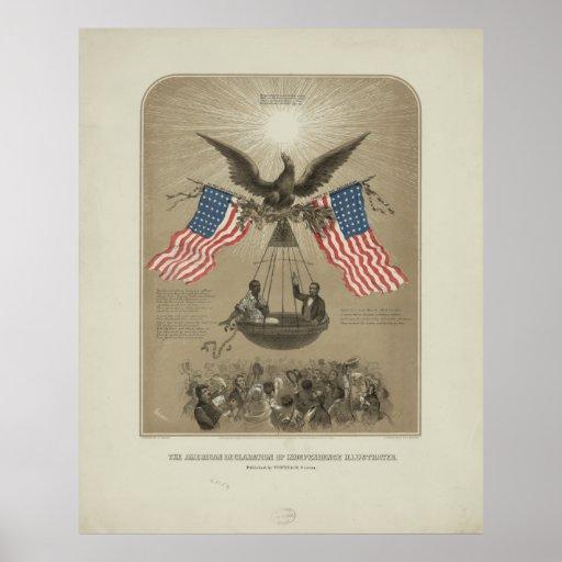 Declaración de Independencia americana ilustrada Poster