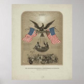 Declaración de Independencia americana ilustrada Póster