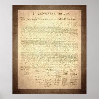 Declaración de Independencia americana Posters