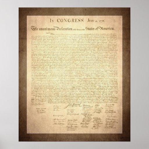 Declaración de Independencia americana Póster