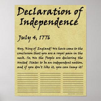 Declaración de Independencia condensada divertida Póster