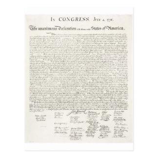 Declaración de Independencia de Estados Unidos Tarjeta Postal