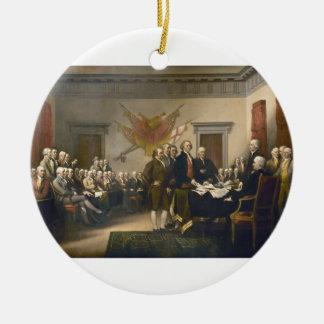 Declaración de Independencia de Juan Trumbull 1819 Adorno Navideño Redondo De Cerámica