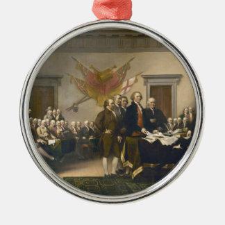 Declaración de Independencia de Juan Trumbull 1819 Adorno Navideño Redondo De Metal