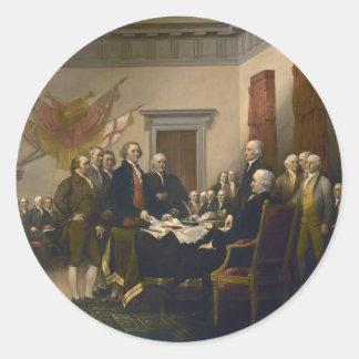 Declaración de Independencia de Juan Trumbull Etiqueta Redonda