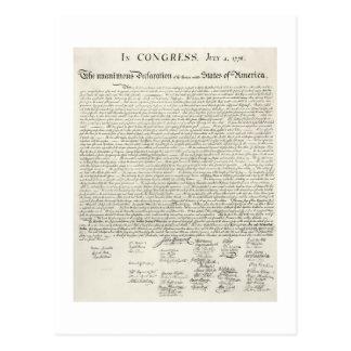 Declaración de Independencia de julio 4,1776 Postal