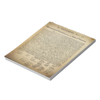 Declaración de Independencia del vintage Blocs De Notas