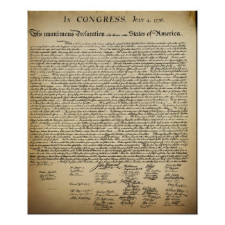 Declaración de Independencia del vintage Póster