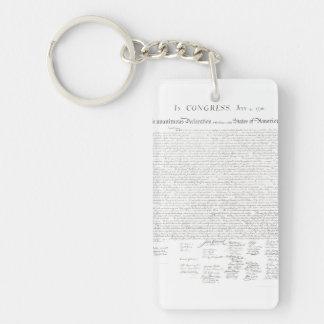 Declaración de Independencia Llavero Rectangular Acrílico A Una Cara