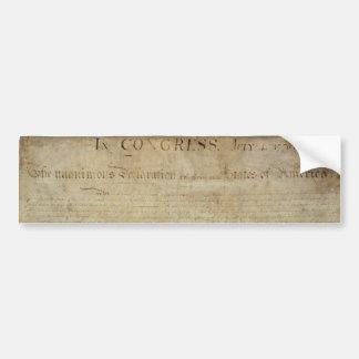 Declaración de Independencia original Pegatina De Parachoque