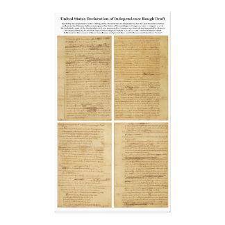 Declaración de Independencia ORIGINAL del borrador Lienzo Envuelto Para Galerías