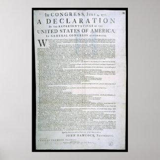 Declaración de Independencia por Dunlap Posters