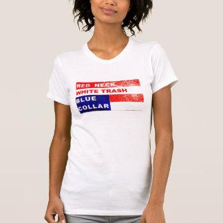 Declaración de moda del cuello azul de la basura camisetas
