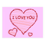 Declaración infantil del amor en creyón y marcador postales
