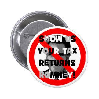 Declaraciones de impuestos de Romney Pin Redondo De 2 Pulgadas