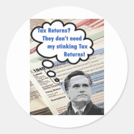 declaraciones de impuestos que apestan pegatina redonda