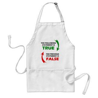 Declaraciones verdaderas y falsas delantal