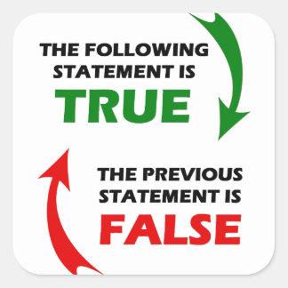 Declaraciones verdaderas y falsas pegatina cuadrada