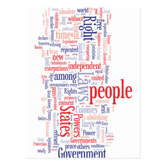 Declaration of Independance Word Cloud Postcard