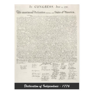 Declaration of Independence - 1776 Post Card