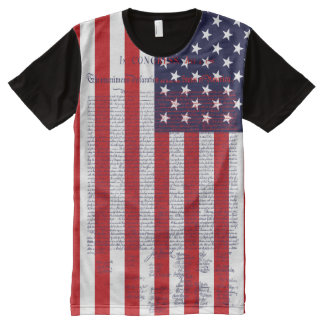Declaration of Independence American Flag All-Over-Print T-Shirt