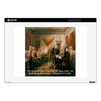 """Declaration Of Independence & Ben Franklin Quote Decals For 15"""" Laptops"""