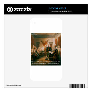 Declaration Of Independence & Ben Franklin Quote Skin For iPhone 4S