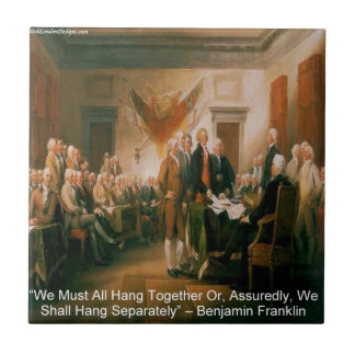 Declaration Of Independence & Ben Franklin Quote Small Square Tile