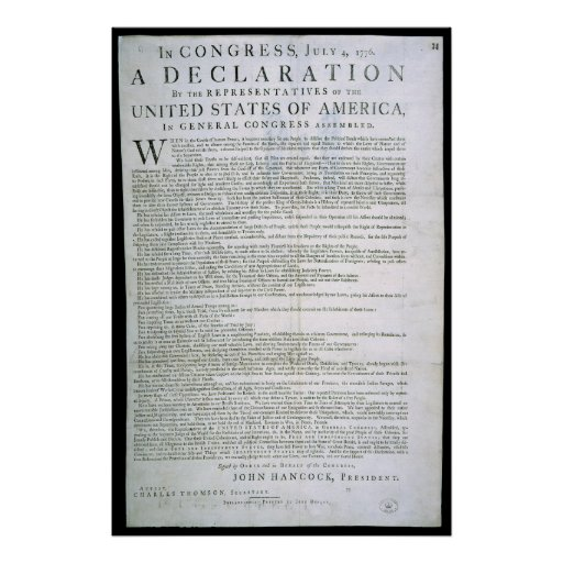 Declaration of Independence by Dunlap Print