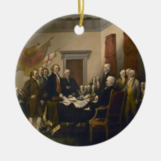 Declaration of Independence by John Trumbull Double-Sided Ceramic Round Christmas Ornament