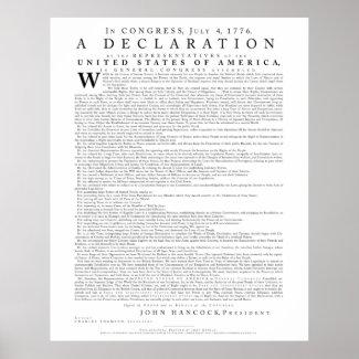 Declaration of Independence, Dunlap in Modern Font Poster