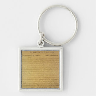 Declaration of Independence Silver-Colored Square Keychain