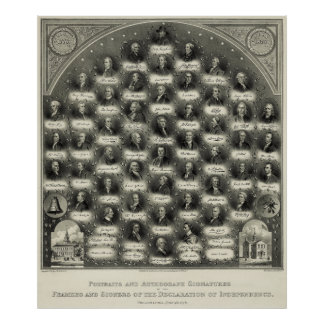 Declaration of Independence Portraits Signatures Poster
