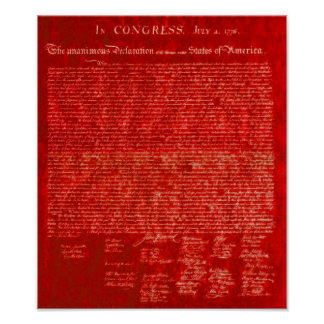 Declaration of Independence red Poster